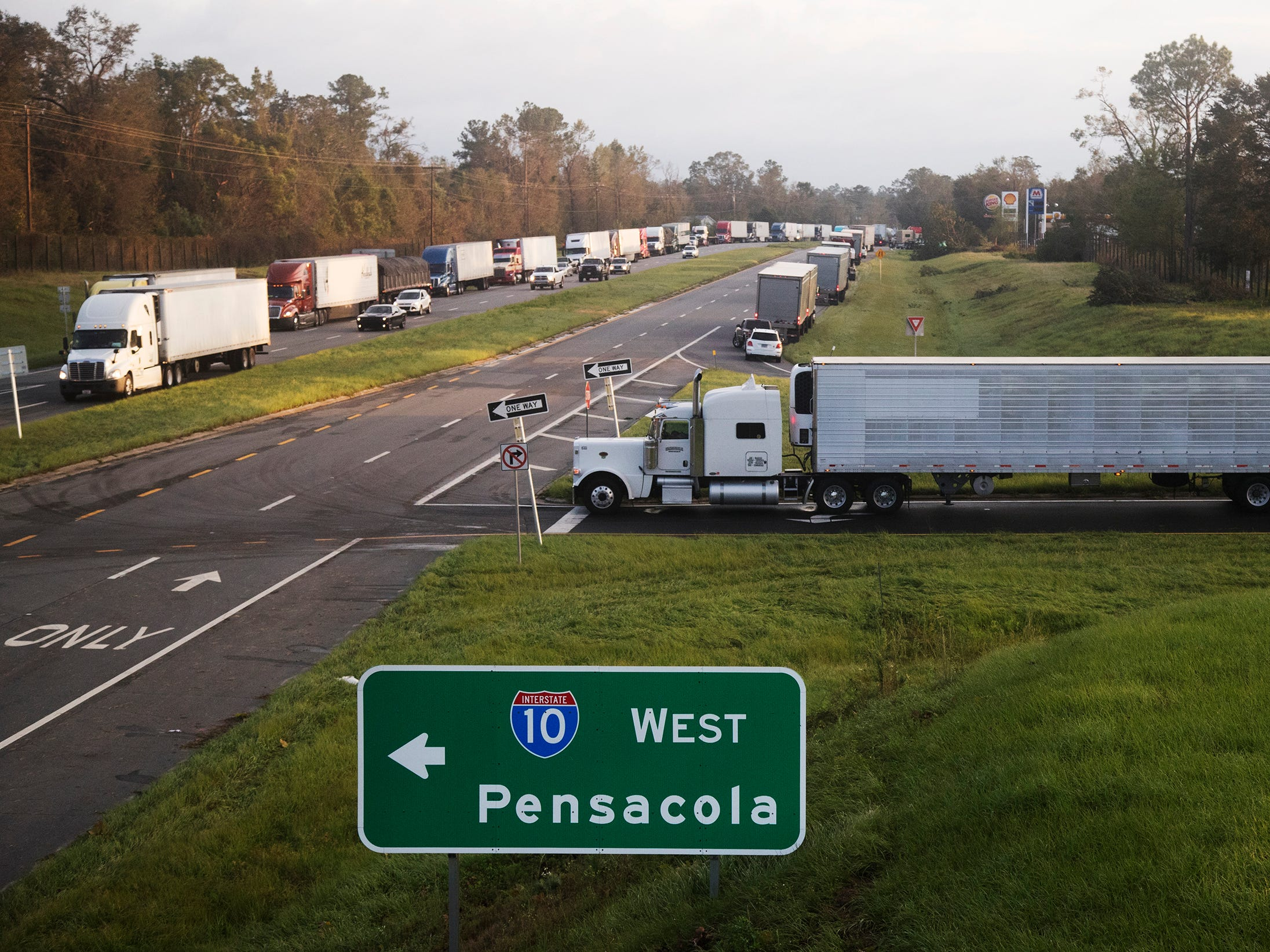 Traffic is denied access to Interstate 10 West at exit 147 in Gadsden County, Florida on Thursday. Downed trees and power lines from Hurricane Michael are preventing non-essential travel to Panama City using 10 West. Portions of 10 West are closed for 80 miles.