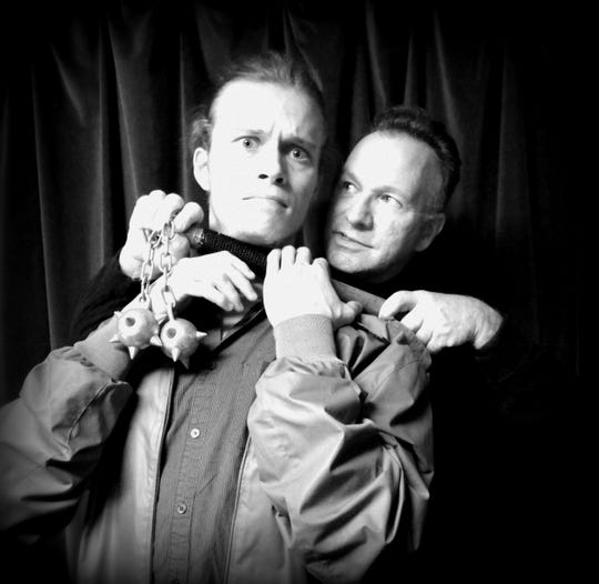 """Dallas Stobb (left) and Scott Carpenter in a scene from The Laboratory Theater of Florida's 2014 production of """"Deathtrap."""""""