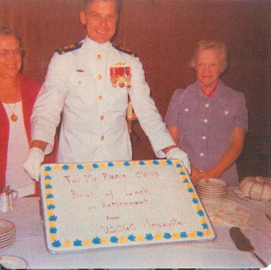 Richard Gale Pierce celebrates his retirement from the U.S. Coast Guard two weeks after his wife's disappearance in 1975. He is pictured with his mother and Carol Jean Pierce?s mother. Immediately after retiring he took the trailer he and his wife had lived in and moved to Cheboygan, Mich.