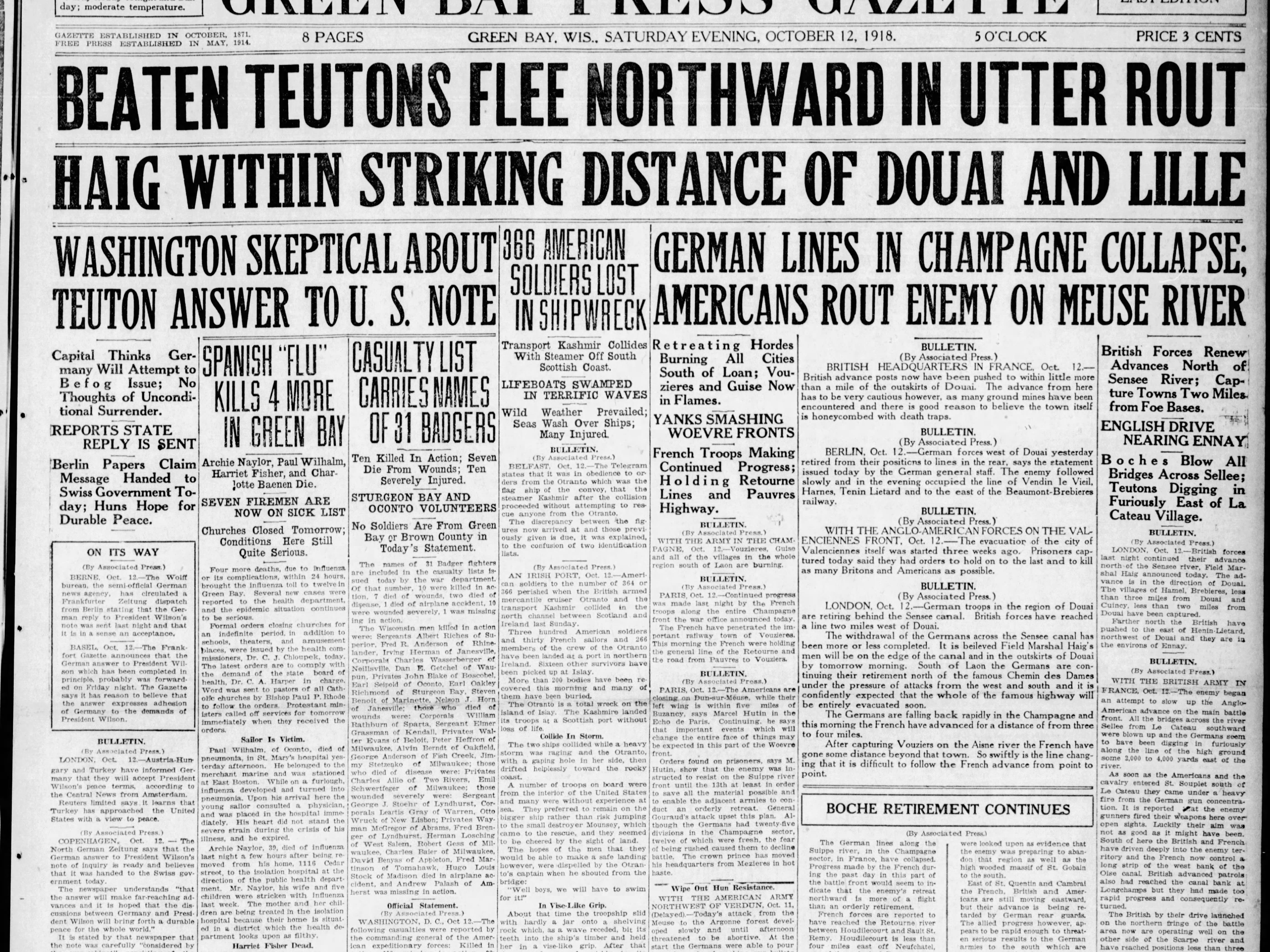 Today in History: Oct. 12, 1918