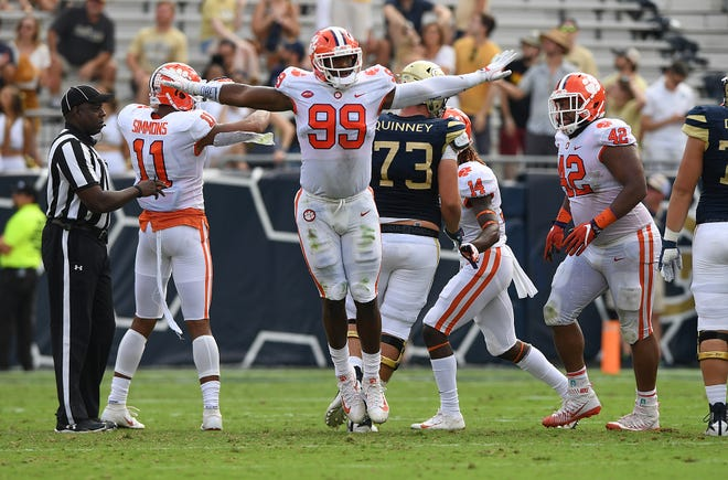 Clemson defensive lineman Clelin Ferrell (99) reacts after Georgia Tech missed a field goal during the 2nd quarter at Georgia Tech's Bobby Dodd Stadium Saturday, September 22, 2018.