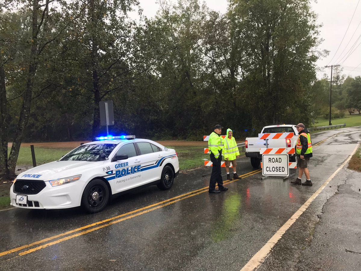 Suber Road in Greer near the Enoree River was closed on Thursday, Oct. 11, 2018.