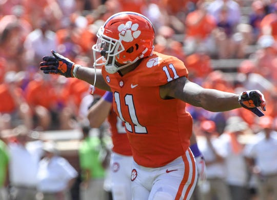 Clemson safety Isaiah Simmons (11) reacts after a tackle against Furman during the third quarter in Memorial Stadium in Clemson on September 1.