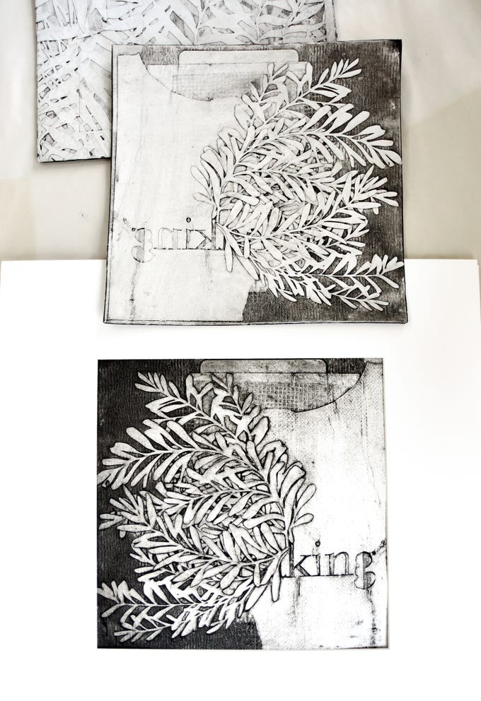 Prints made from cut paper by artist Elizabeth Speaker.