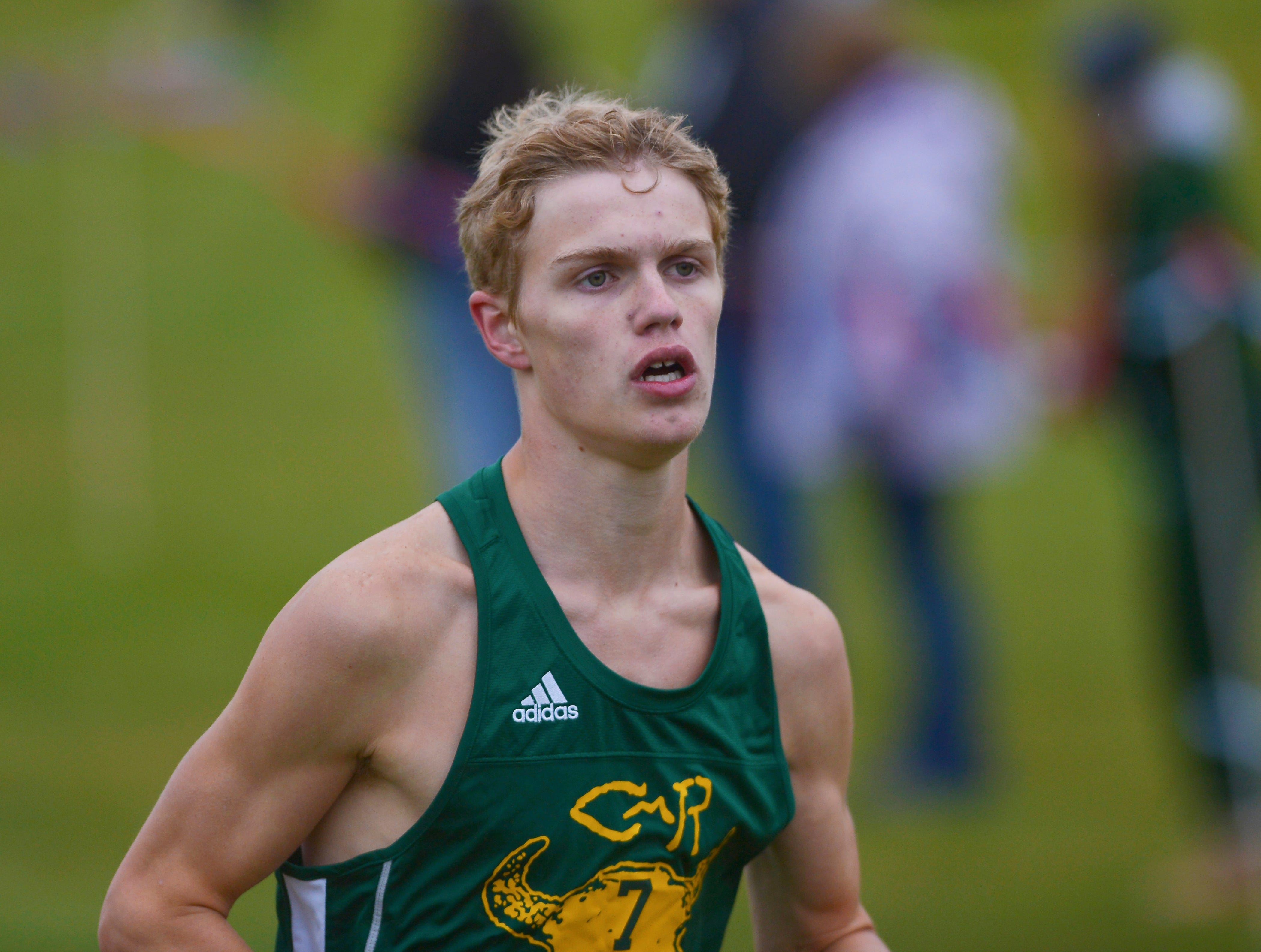 CMR's Gordon Gentry finishes first in the boys race during the crosstown cross country meet on Wednesday at Anaconda Hills Golf Course.