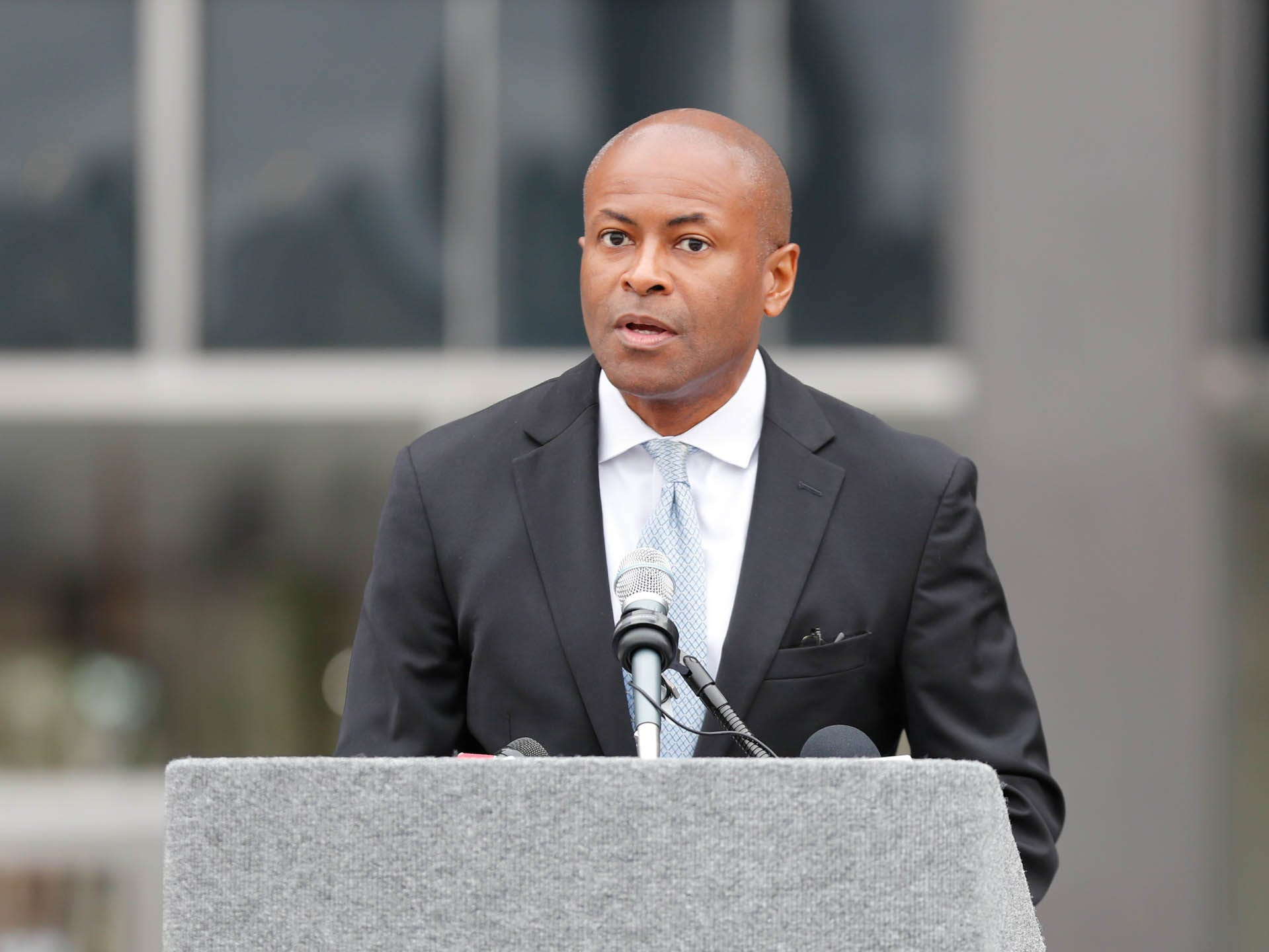 City-County Councilman Vop Osili speaks during the reopening and dedication of Richard G. Lugar Plaza at the City-County Building in Indianapolis on Thursday, Oct. 11, 2018.