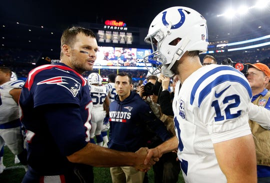 Oct 4, 2018; New England Patriots quarterback Tom Brady (12) shakes hands with Indianapolis Colts quarterback Andrew Luck (12) after New England's 38-24 win at Gillette Stadium.