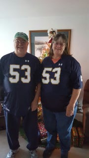 Sam Mustipher's grandparents, Joe and Linda Heatherman, in their Notre Dame jerseys