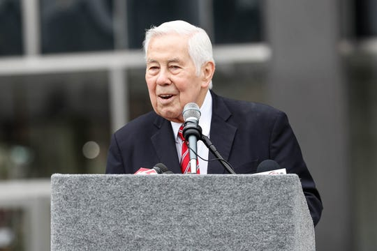 Former Sen. Richard Lugar speaks during the reopening and dedication of Richard G. Lugar Plaza at the City-County Building in Indianapolis in 2018.