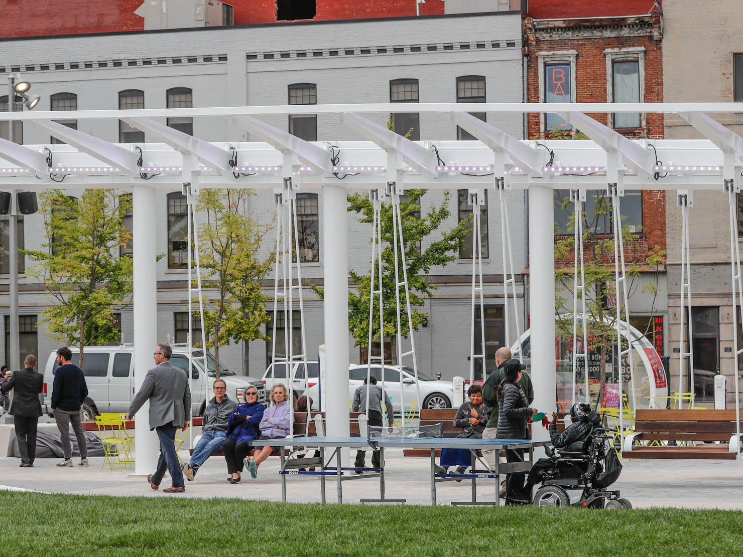 Guests explore the new Richard G. Lugar Plaza at the City-County Building in Indianapolis on Thursday, Oct. 11, 2018.