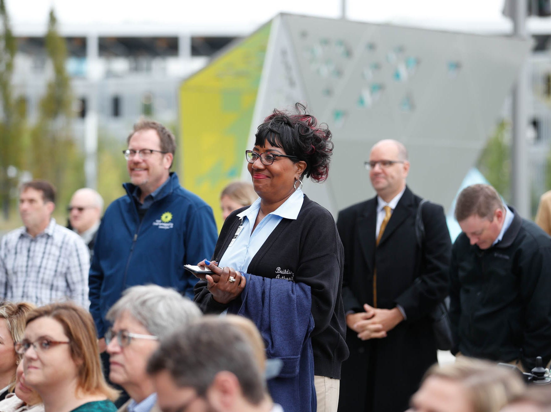 during the reopening and dedication of Richard G. Lugar Plaza at the City-County Building in Indianapolis on Thursday, Oct. 11, 2018.