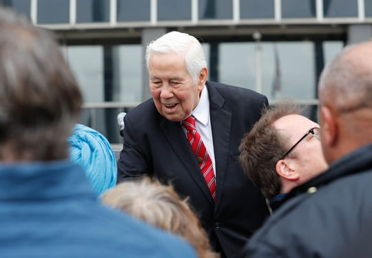 Former Senator Richard Lugar greets guests during the reopening and dedication of Richard G. Lugar Plaza at the City-County Building in Indianapolis on Thursday, Oct. 11, 2018.