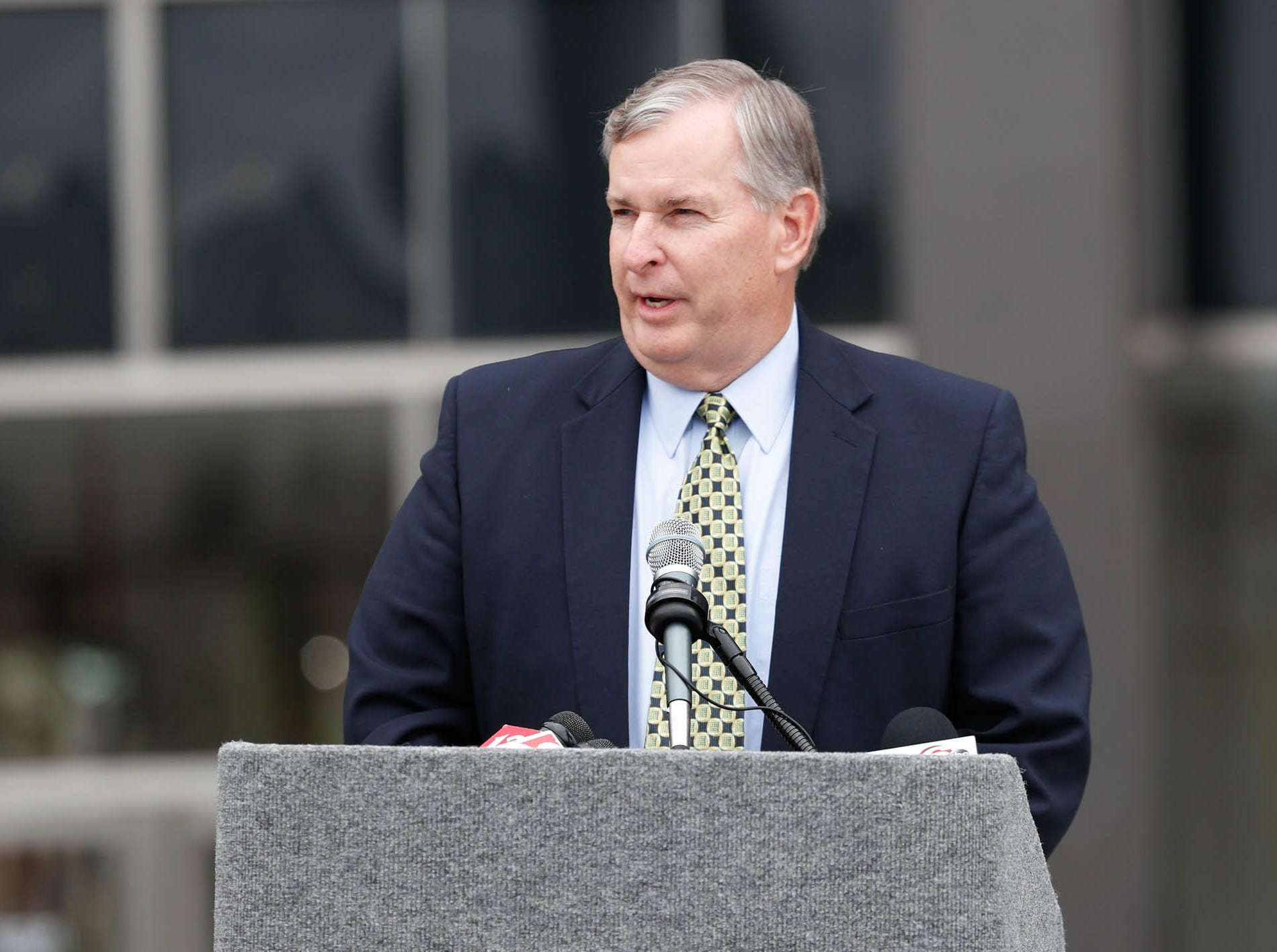 Former Indianapolis Mayor Greg Ballard gives remarks during the reopening and dedication of Richard G. Lugar Plaza at the City-County Building in Indianapolis on Thursday, Oct. 11, 2018.