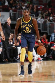 Edmond Sumner #5 of the Indiana Pacers