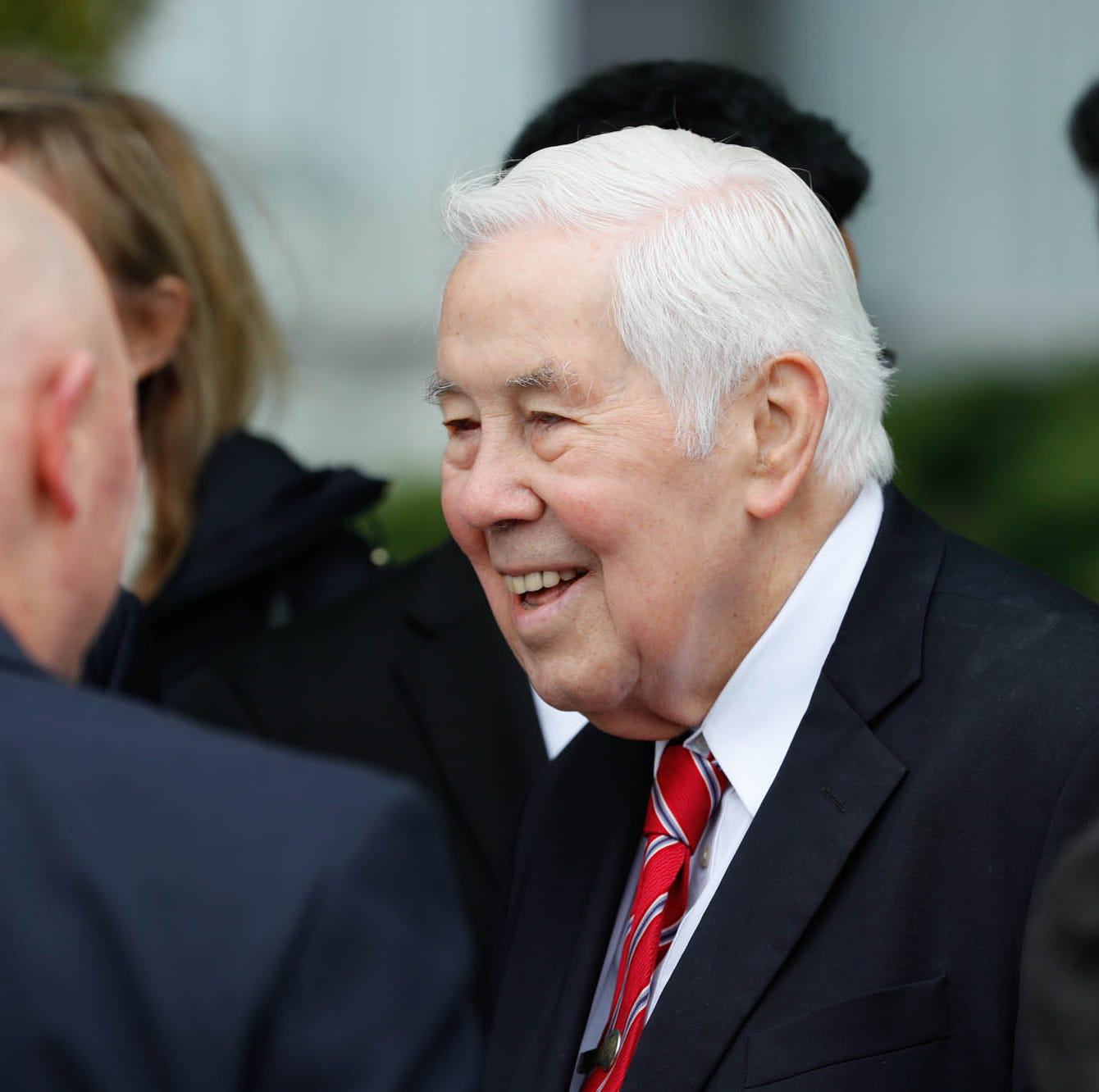 Former Senator Richard Lugar greets guests during the reopening and dedication of Richard G. Lugar Plaza at the City-County Building in Indianapolis on Thursday, Oct. 10, 2018.