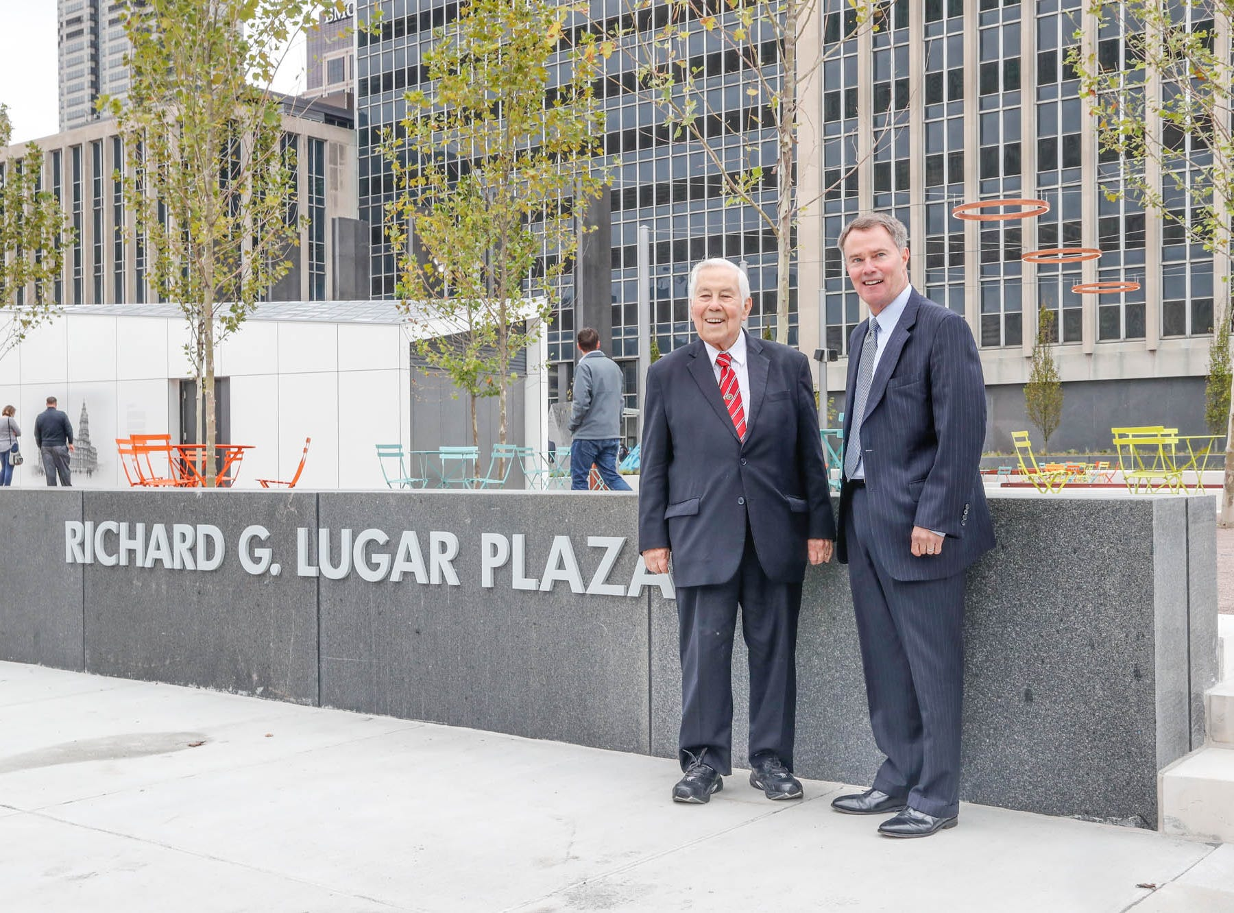 Former Senator and Mayor, Richard Lugar, left, and current Mayor of Indianapolis, Joe Hogsett,  stand for a photo during the reopening and dedication of Richard G. Lugar Plaza at the City-County Building in Indianapolis on Thursday, Oct. 11, 2018.