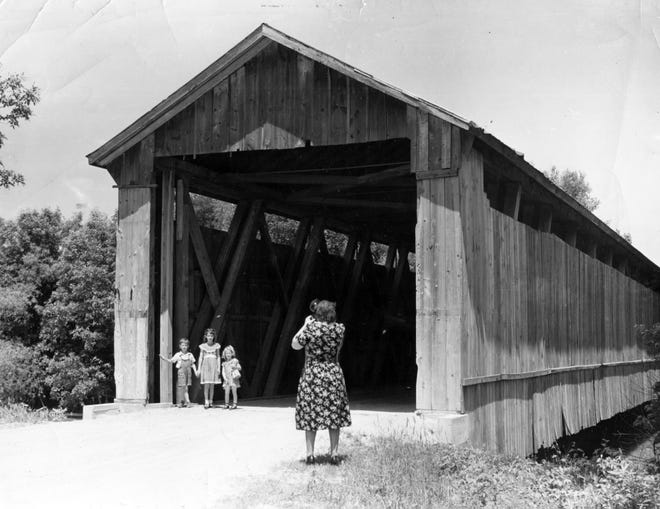 Covered bridge over the Wabash River near Berne, Indiana, in 1956.