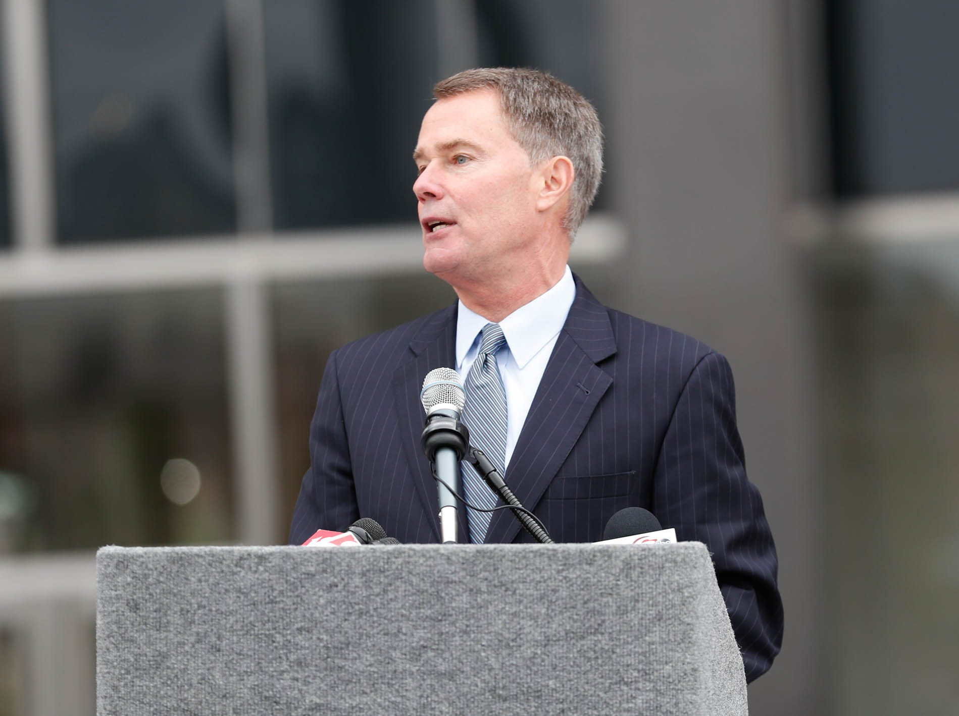 Mayor of Indianapolis, Joe Hogsett speaks  during the reopening and dedication of Richard G. Lugar Plaza at the City-County Building in Indianapolis on Thursday, Oct. 11, 2018.