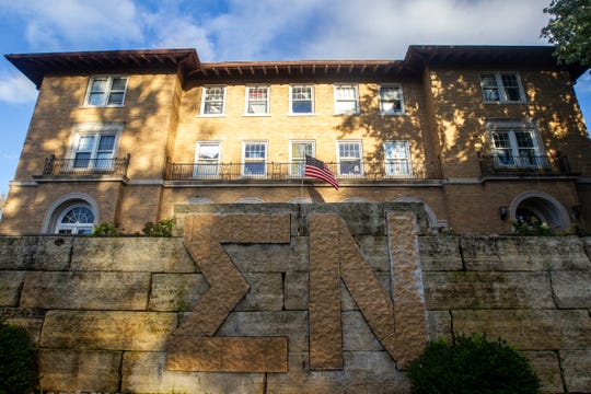 Sigma Nu fraternity is seen on Thursday, Oct. 11, 2018, along North Dubuque Street in Iowa City.