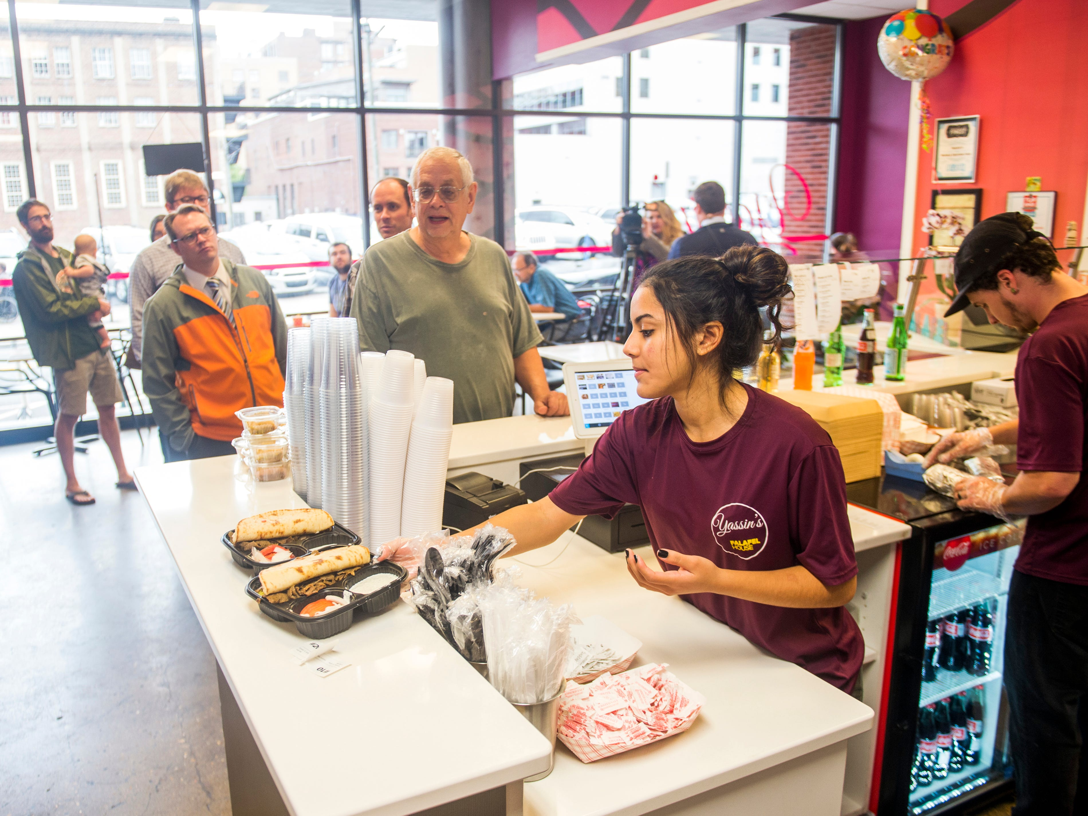 """A line begins to form at lunchtime at Yassin's Falafel House in downtown Knoxville on Thursday, October 11, 2018. Yassin's Falafel House was named """"Nicest Place in America"""" by Reader's Digest."""