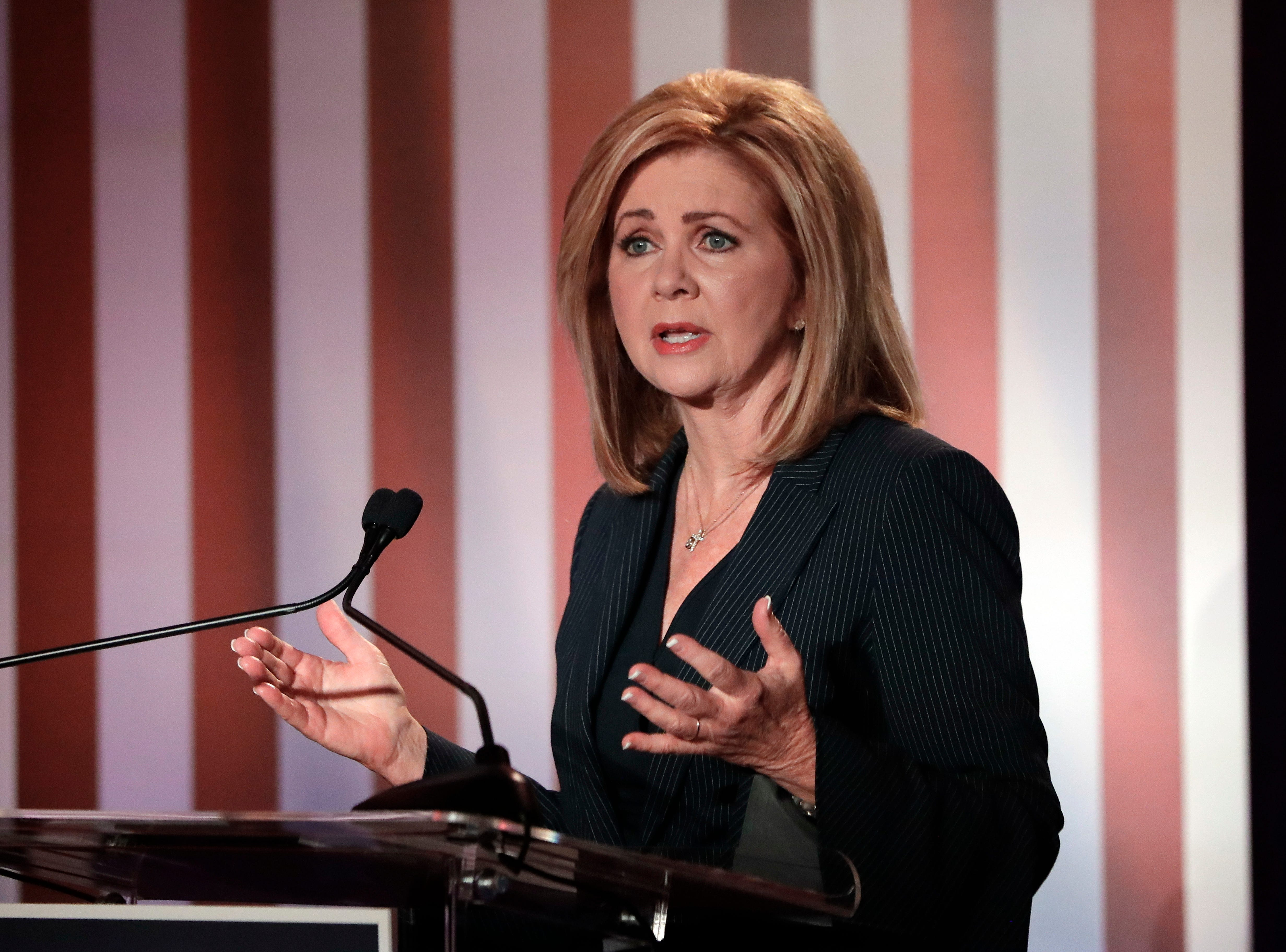 Republican U.S. Rep. Marsha Blackburn speaks during the 2018 Tennessee U.S. Senate Debate at The University of Tennessee Wednesday, Oct. 10, 2018, in in Knoxville, Tenn.