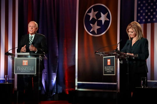 Democratic candidate and former Gov. Phil Bredesen, left, speaks during the 2018 Tennessee U.S. Senate Debate with Republican U.S. Rep. Marsha Blackburn at The University of Tennessee Wednesday, Oct. 10, 2018, in in Knoxville, Tenn.