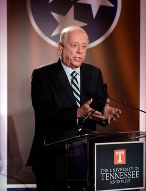 Democratic candidate and former Gov. Phil Bredesen speaks during the 2018 Tennessee U.S. Senate Debate at The University of Tennessee Wednesday, Oct. 10, 2018, in Knoxville, Tenn.