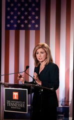 Marsha Blackburn speaks during Wednesday's U.S. Senate Debate in Knoxville.