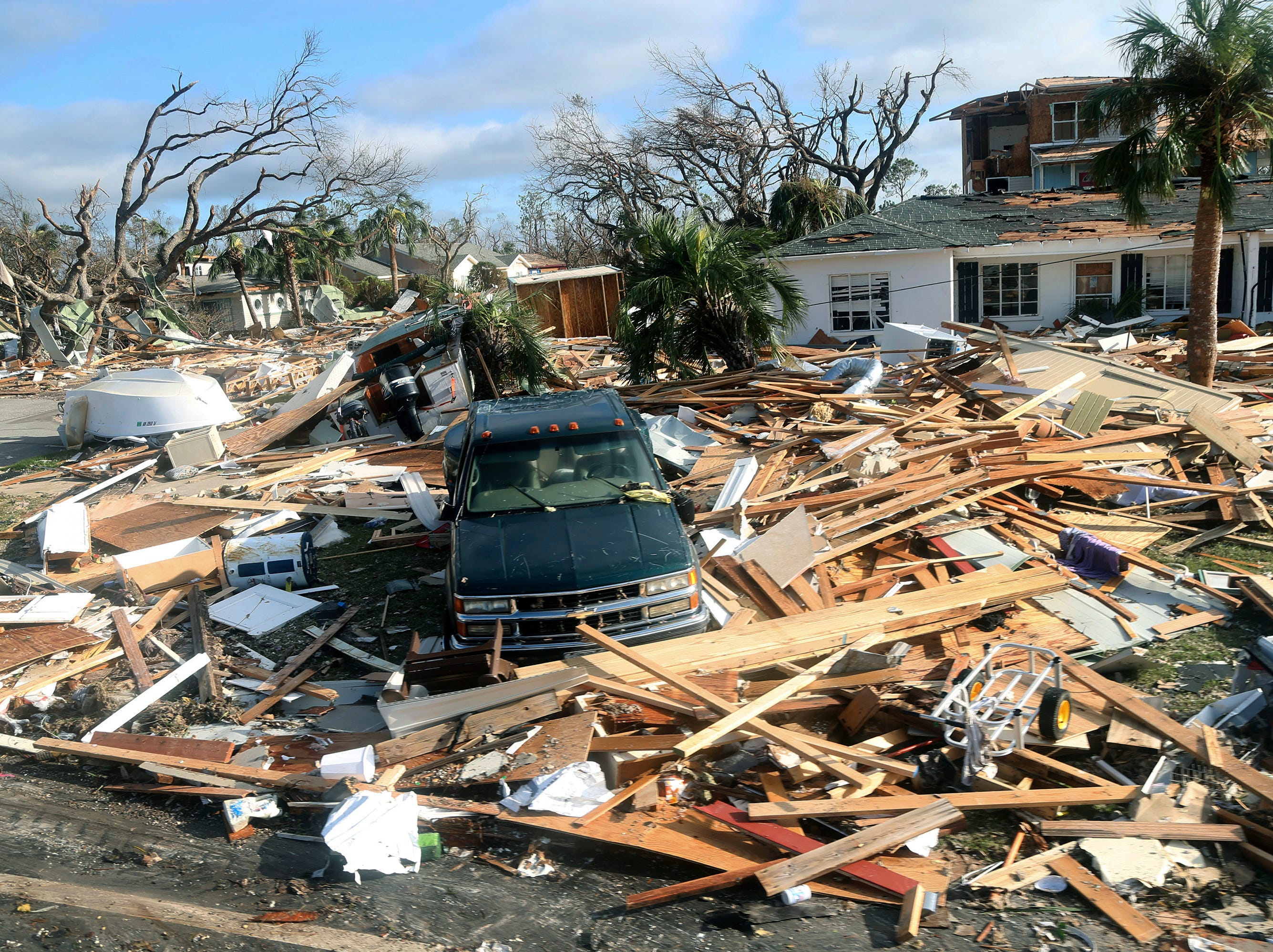 The coastal township of Mexico Beach, Fla., lays devastated on Thursday, Oct. 11, 2018, after Hurricane Michael made landfall on Wednesday in the Florida Panhandle.