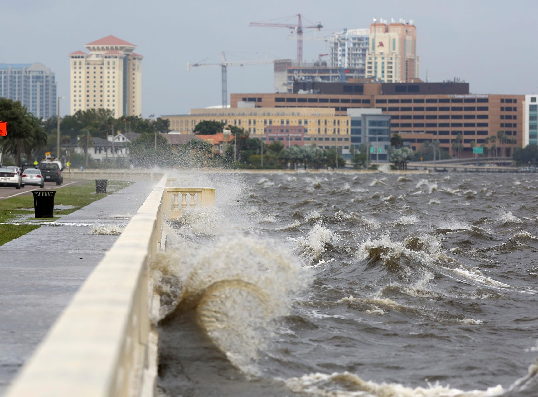 While the panhandle is taking the brunt of Hurricane Michael,on Wednesday, Oct. 10, 2018,  Bayshore Blvd. in Tampa, Fla., experienced some flooding from a choppy Tampa Bay which is more than 300 miles from where the storm's eye made landfall.