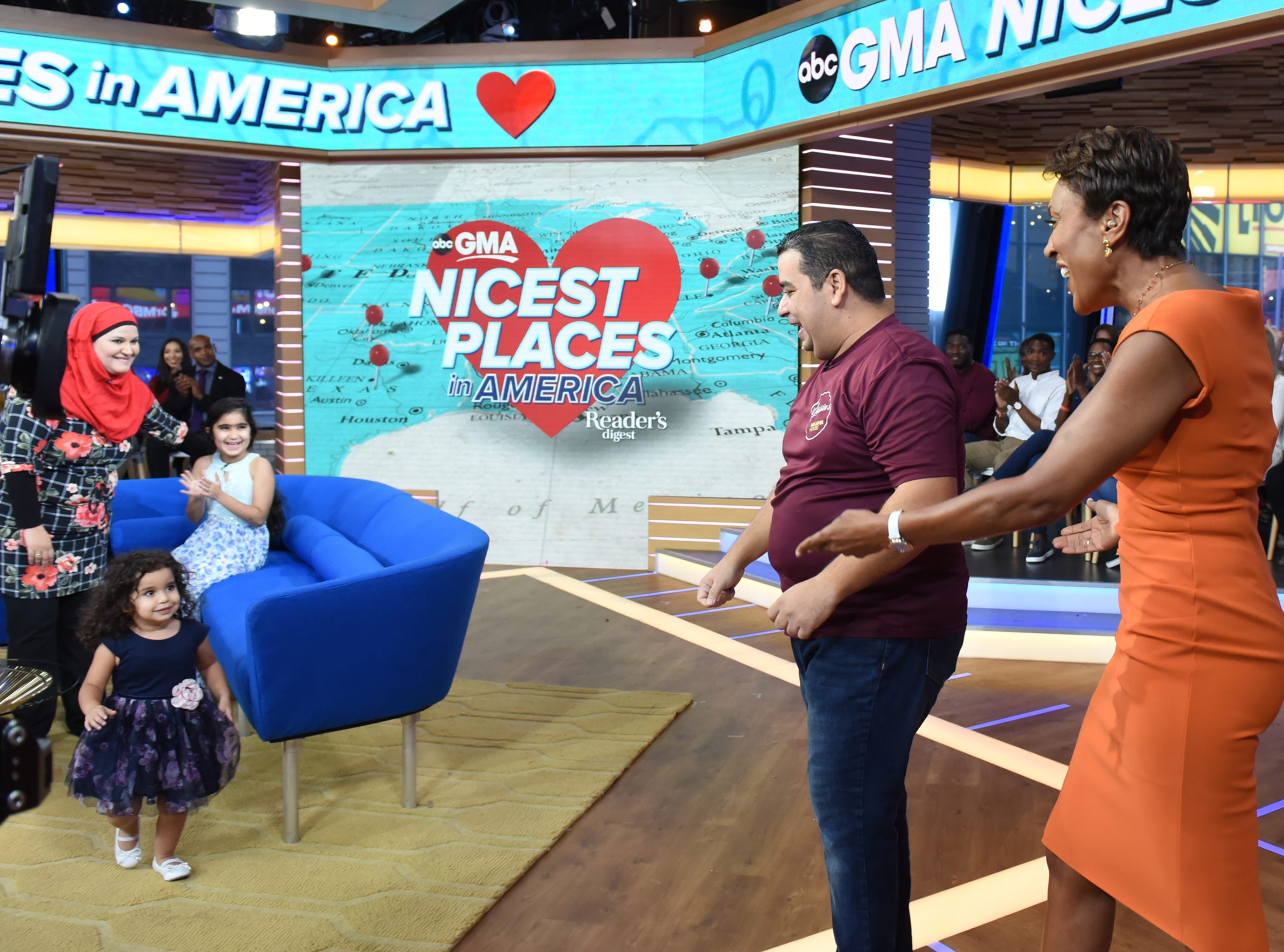 """Yassin Terou, owner of Yassin's Falafel House in Knoxville, Tenn., which won the Reader's Digest Nicest Places in America award, and his family are guests on """"Good Morning America,"""" with host Robin Roberts on Thursday, October 11, 2018 on ABC."""