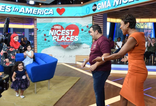"Yassin Terou, owner of Yassin's Falafel House in Knoxville, Tenn., which won the Reader's Digest Nicest Places in America award, and his family are guests on ""Good Morning America,"" with host Robin Roberts on Thursday, October 11, 2018 on ABC."