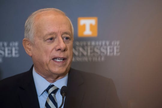 Gov. Phil Bredesen responds to questions from the media after a U.S. Senate debate between Bredesen and Congressman Marsha Blackburn at the University of Tennessee's Howard H. Baker Jr. Center for Public Policy Wednesday, Oct. 10, 2018. The Senate seat is being vacated by retiring Sen. Bob Corker.