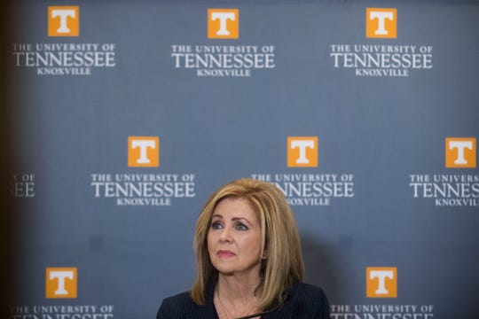 Congressman Marsha Blackburn responds to questions from the media after a U.S. Senate debate between Gov. Phil Bredesen and  Blackburn at the University of Tennessee's Howard H. Baker Jr. Center for Public Policy Wednesday, Oct. 10, 2018. The Senate seat is being vacated by retiring Sen. Bob Corker.
