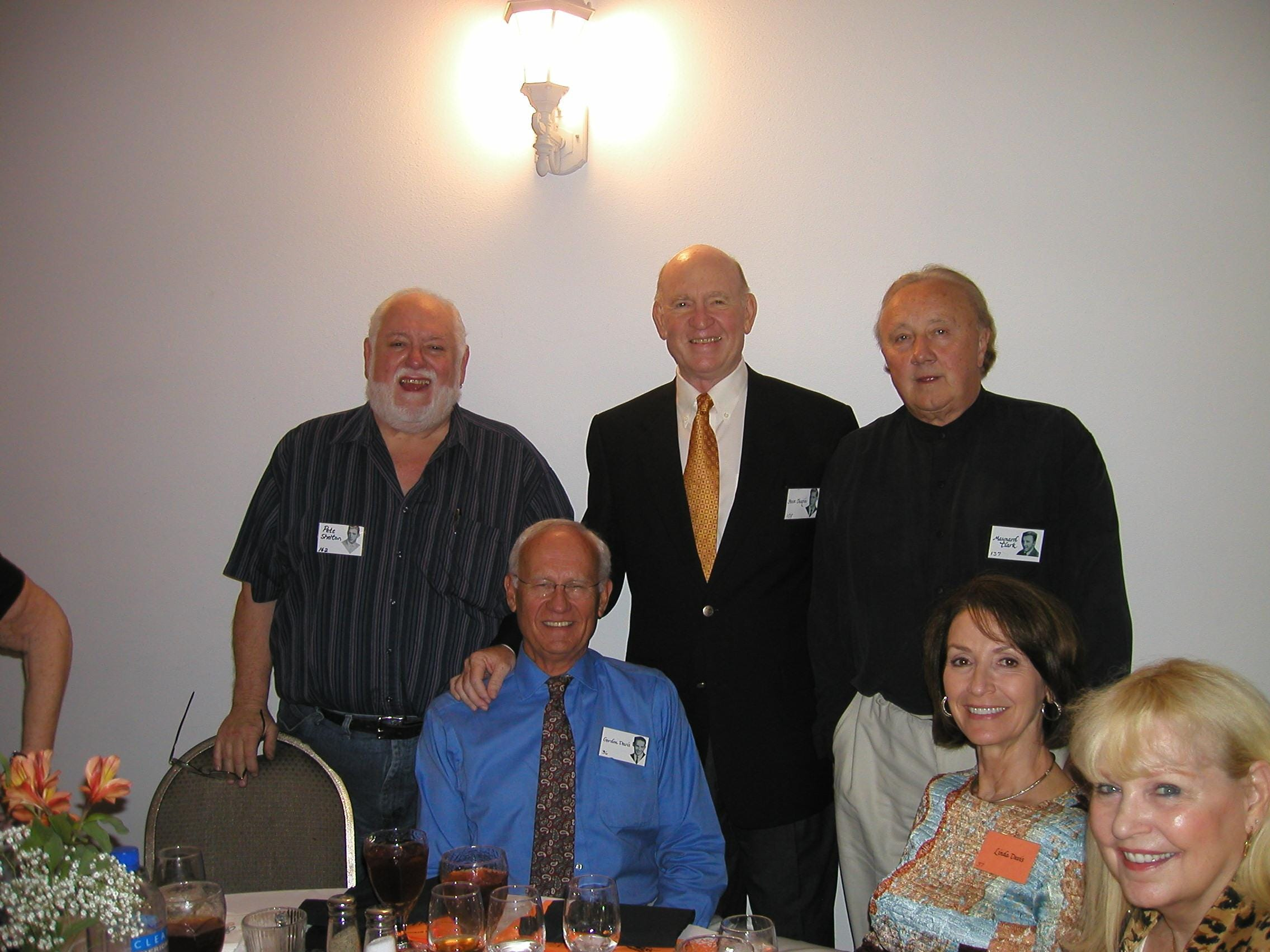 Enjoying  dinner and sharing memories at the 50th reunion of the Young High School Class of 1959 are, from left, Pete Shelton, Gordon Davis (seated), Steve Chapin, Maynard Clark, Linda Davis and Susan Clark. The group met at Rothchild's for a couple of weekend dinners and also picnicked at Duff Park, the site of the school's former football field.