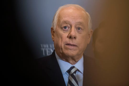 Gov. Phil Bredesen responds to questions from the media after a Senate debate with U.S. Rep. Marsha Blackburn at the University of Tennessee's Howard H. Baker Jr. Center for Public Policy on Oct. 10, 2018. The Senate seat is being vacated by retiring Sen. Bob Corker.