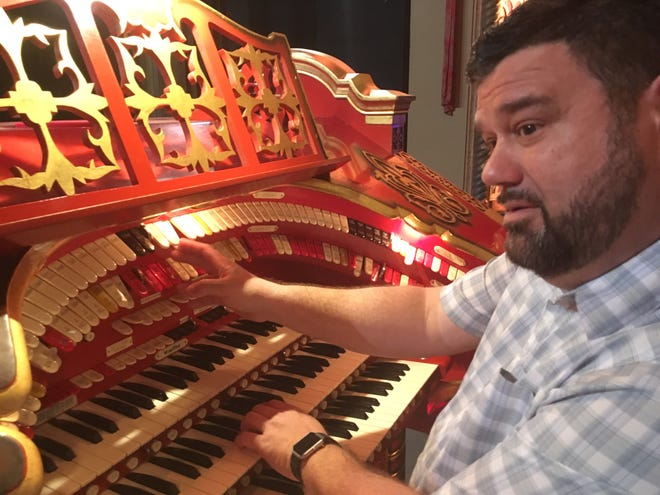 """Freddie Brabson enjoys tinkering with the various organ stops, layering effects to get a certain timbre. """"A theater organ is like a palette of sounds,"""" he says. October 10, 2018."""