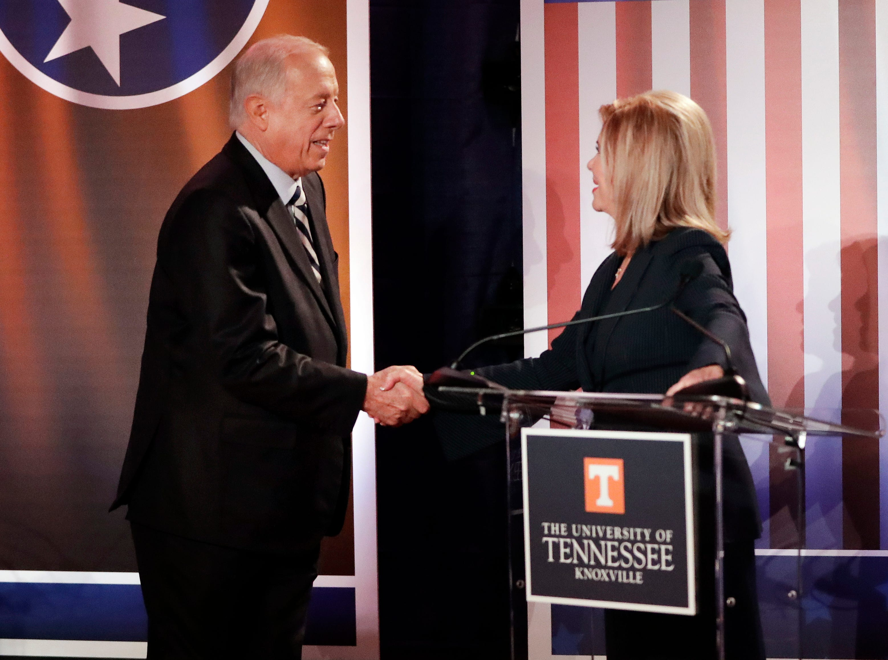 Democratic candidate and former Gov. Phil Bredesen and Republican U.S. Rep. Marsha Blackburn shake hands after the 2018 Tennessee U.S. Senate Debate at The University of Tennessee Wednesday, Oct. 10, 2018, in in Knoxville, Tenn.