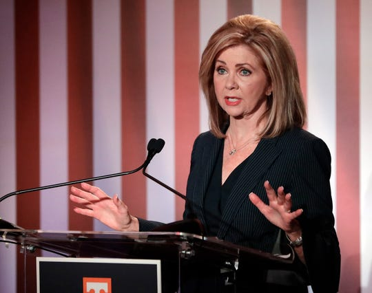 Republican U.S. Rep. Marsha Blackburn speaks during the 2018 Tennessee U.S. Senate Debate at The University of Tennessee Wednesday, Oct. 10, 2018, in Knoxville, Tenn.