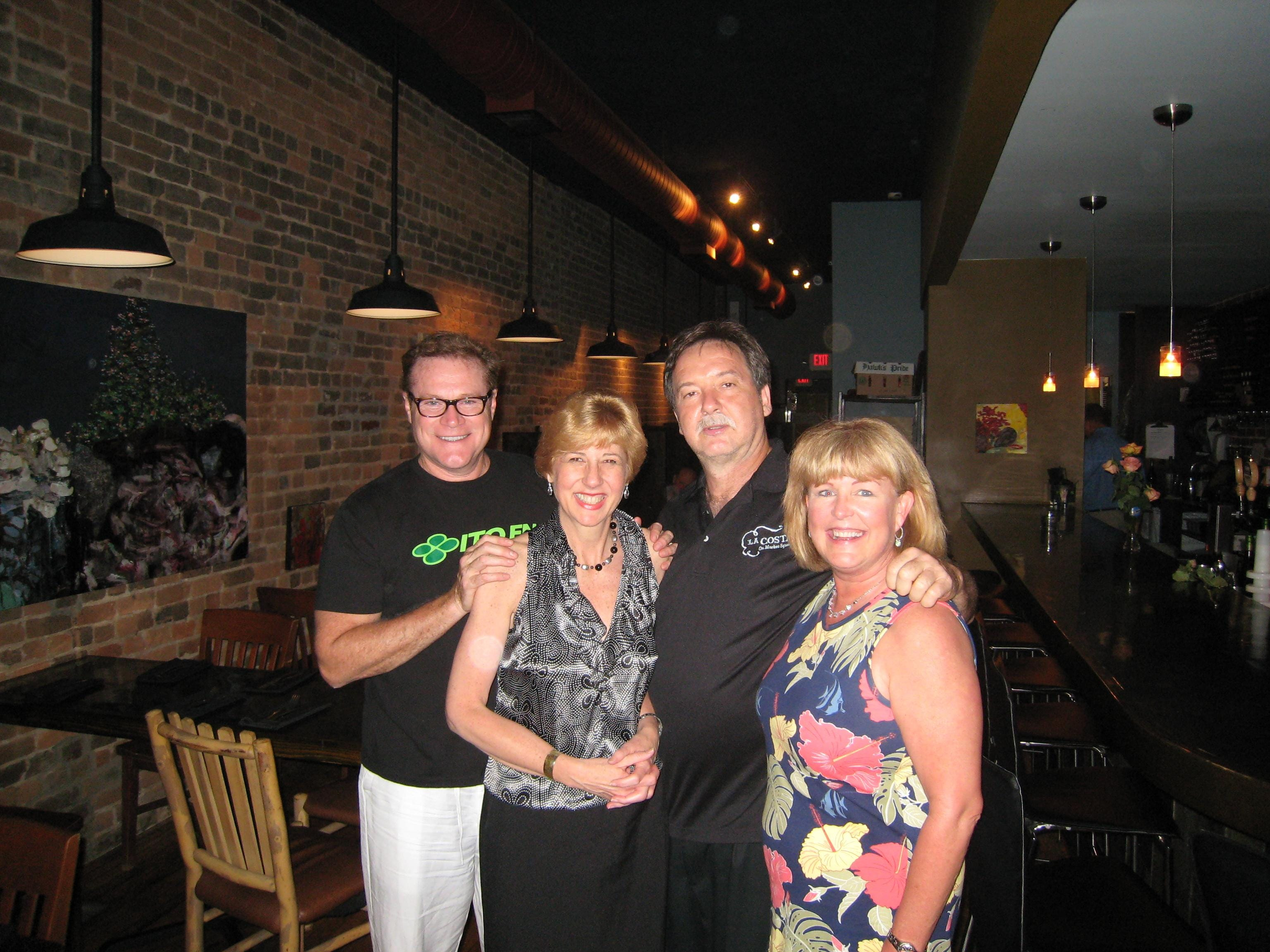 "La Costa restaurant on Market Square hosted a Latino Fusion wine-tasting dinner, enabling friends of the restaurant to sample its gourmet pairings. Cedar Bluff Wine and Spirits and Knoxville Beverage provided wines. La Costa owner Ken Eddleman reunited Young High alums at a special ""South Knoxville"" table. From left are actor David Keith, Ackermann PR Senior Vice President Lisa Hood Skinner, Eddleman and his wife, Mary Carol Ford Eddleman."