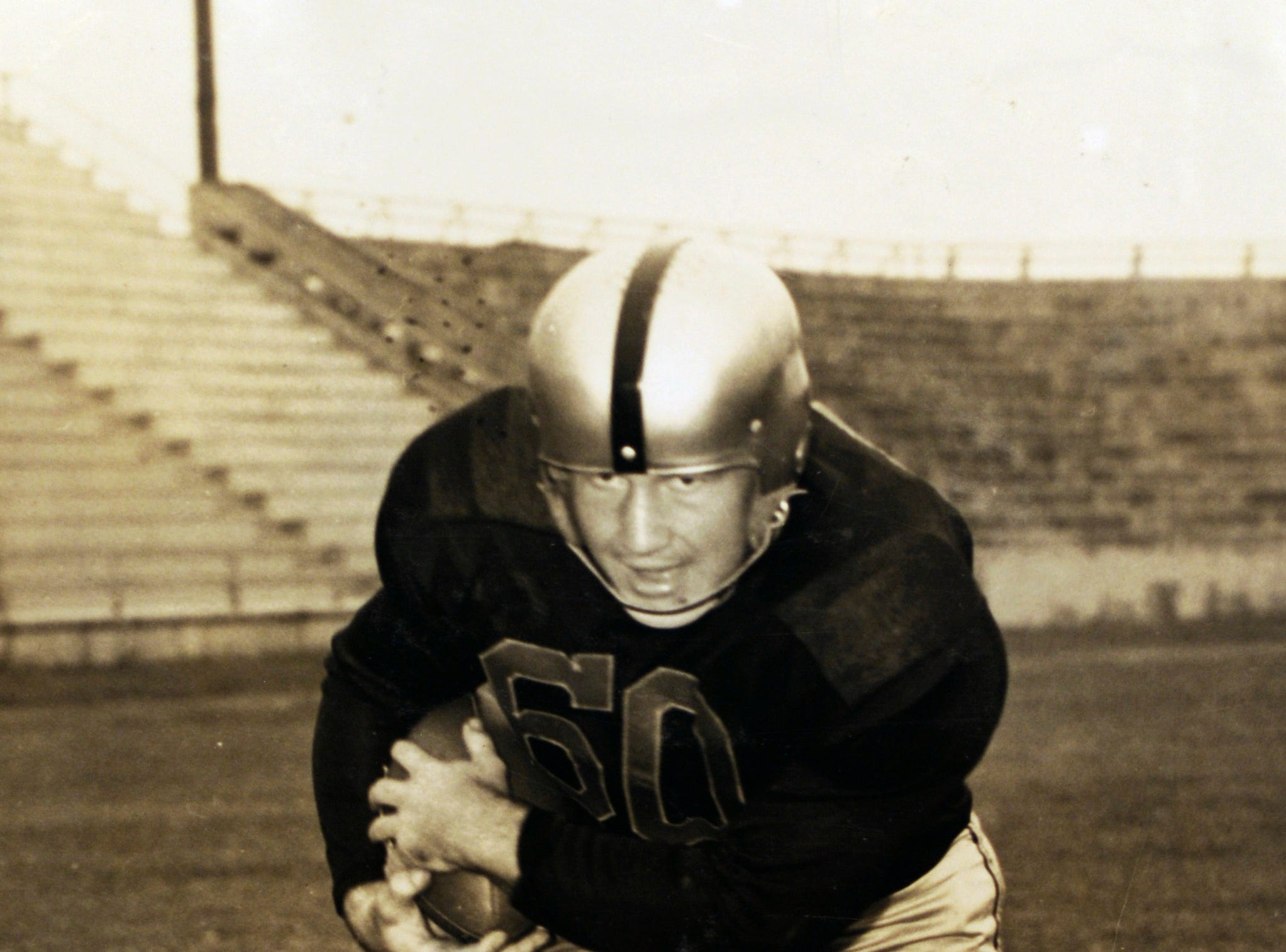 A 1948 photograph of Bill Clabo, who was a Young High School football coach for years, when he played at Wofford College in South Carolina. On Sept. 25, Duff Park in South Knoxville is being renamed in Clabo's honor.