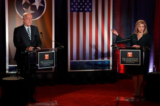 Republican U.S. Rep. Marsha Blackburn, right, speaks during the 2018 Tennessee U.S. Senate Debate with Democratic candidate and former Gov. Phil Bredesen at The University of Tennessee Wednesday, Oct. 10, 2018, in in Knoxville, Tenn. (AP Photo/Mark Humphrey, Pool)