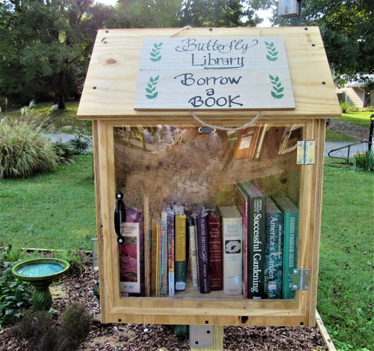 Read a book, bring a book, or take a book at the Butterfly library box at Concord United Methodist Church.