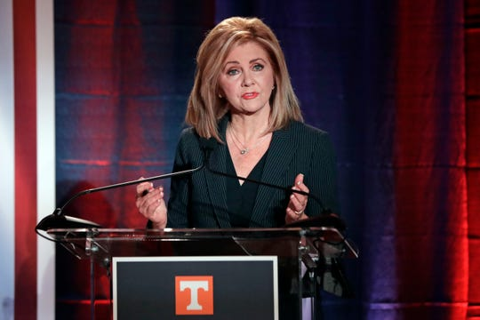 Republican U.S. Rep. Marsha Blackburn speaks during the 2018 Tennessee U.S. Senate Debate at The University of Tennessee Wednesday, Oct. 10, 2018, in in Knoxville, Tenn. (AP Photo/Mark Humphrey, Pool)