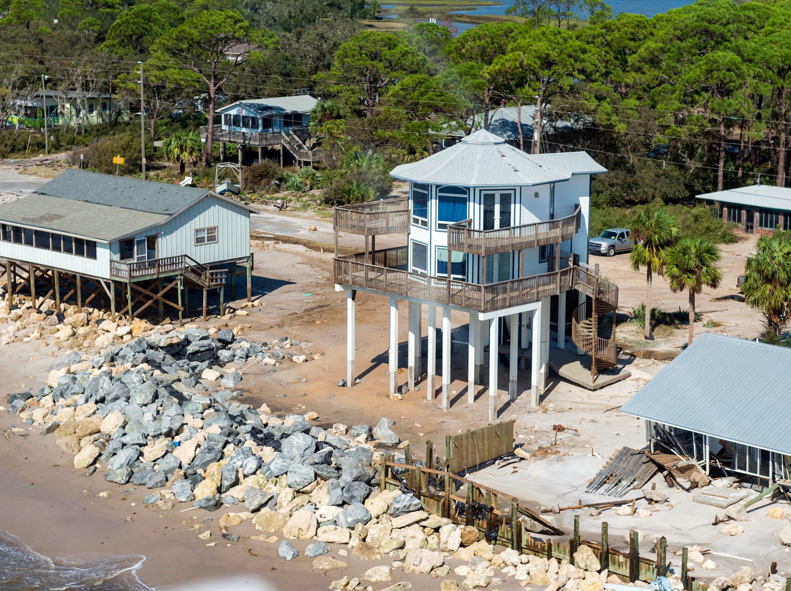 Aerial photos of the aftermath of Hurricane Michael on St Teresa Beach, Fla., Thursday, Oct. 11, 2018.