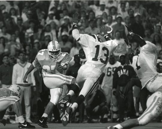 Oct. 20, 1990: Greg Burke's field goal attempt in the fourth quarter, which would have won the game for Tennessee, is blocked by Alabama's Stacy Harrison (1) and George Teague (13). Alabama went on to win, 9-6.