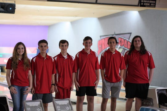 Halls High School Bowling Club members: Grace Turner, Brett Durfee, Ashton Jett, Brett Beeler, Christian Peck and Chance Reymer at Fountain Lanes Fountain Lanes Strike and Spare in Fountain City.