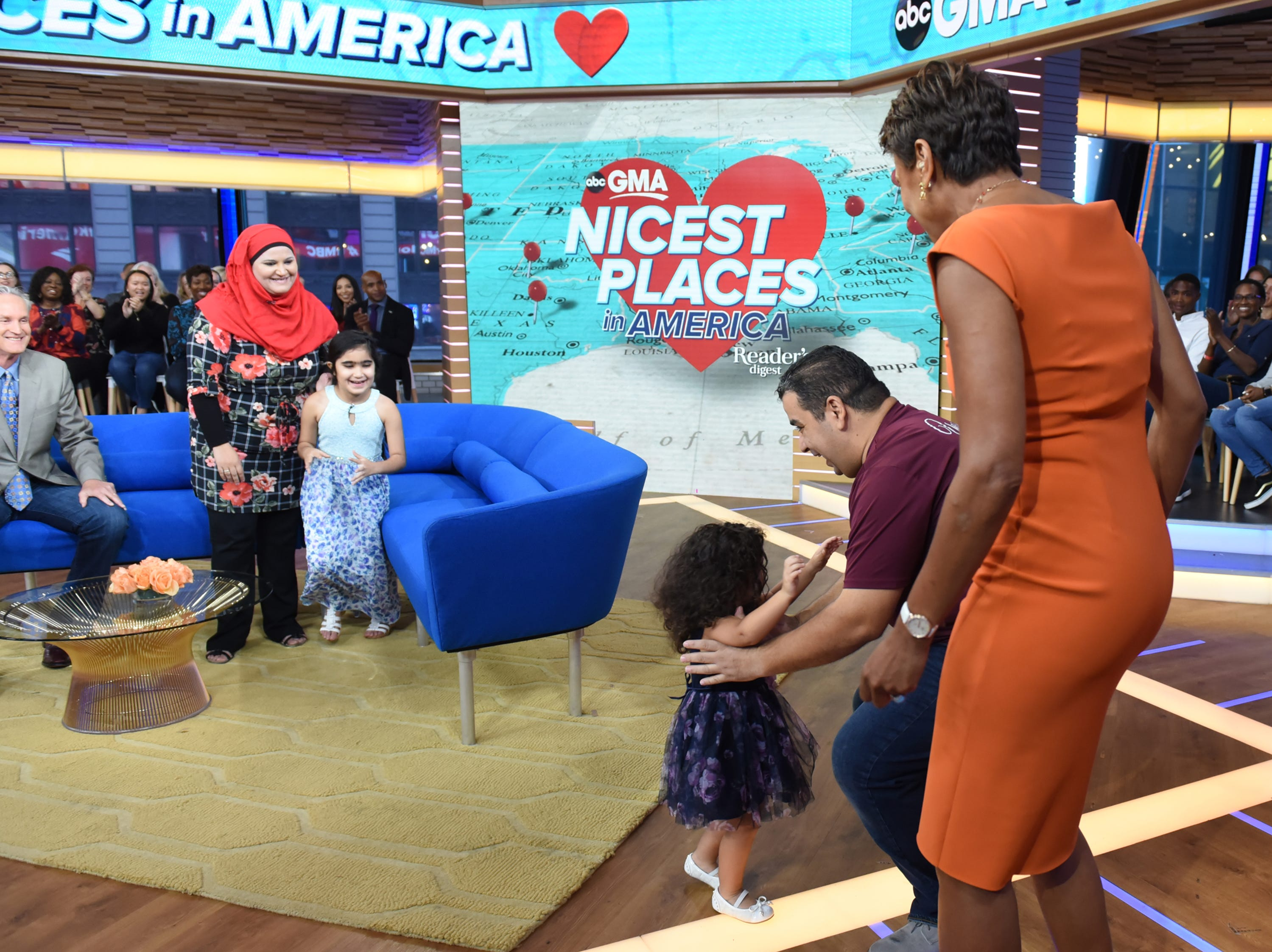 """Yassin Terou, second from right, owns Yassin's Falafel House in Knoxville, Tenn., which was named the Nicest Place in America. Terou and his family were guests on """"Good Morning America,"""" on Thursday, October 11, 2018 on ABC."""
