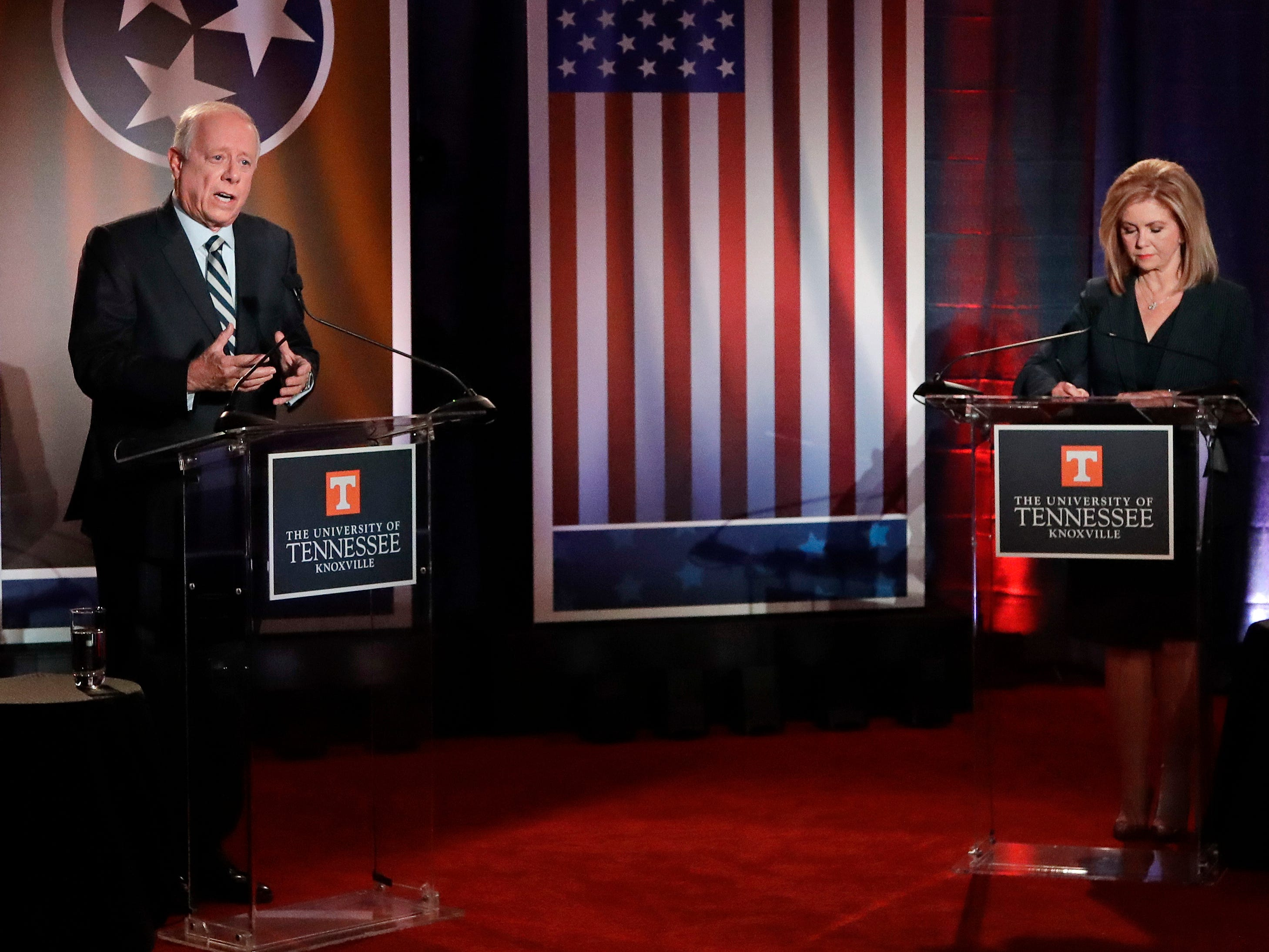 Democratic candidate and former Gov. Phil Bredesen, left, speaks during the 2018 Tennessee U.S. Senate Debate with Republican U.S. Rep. Marsha Blackburn at The University of Tennessee Wednesday, Oct. 10, 2018, in Knoxville, Tenn.