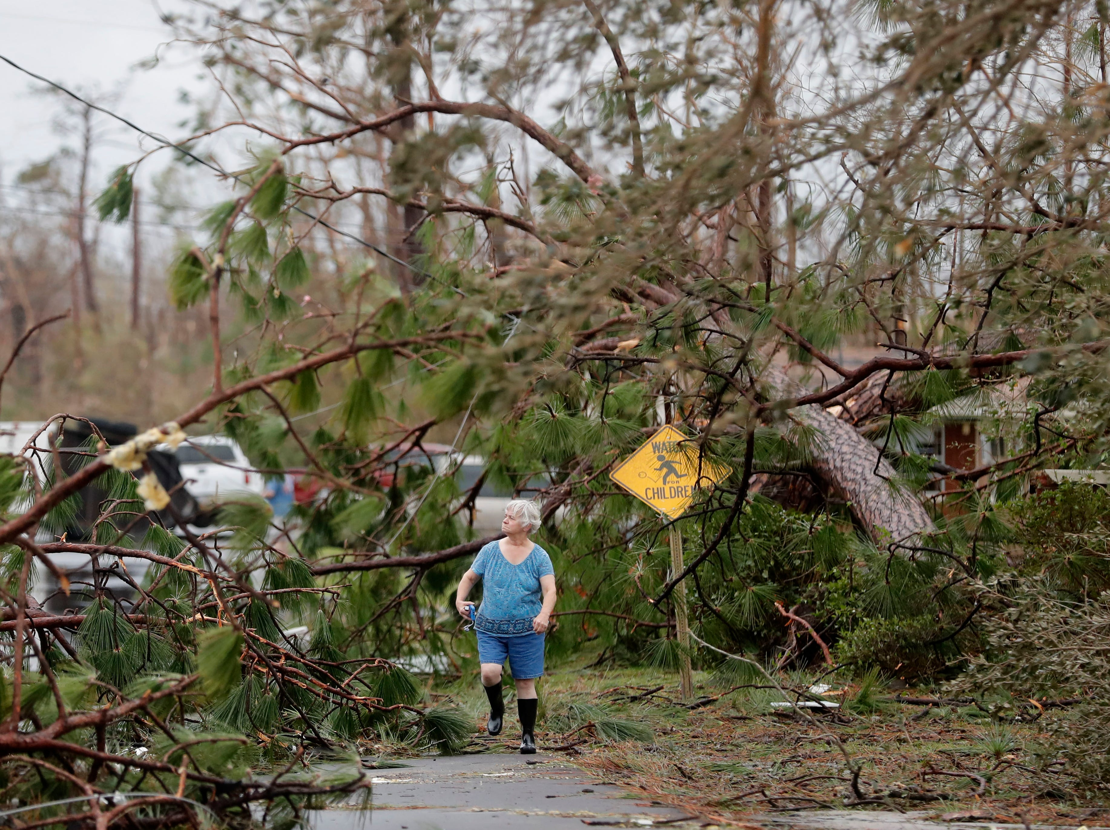 Carol Ralph walks through downed trees blocking her heavily damaged neighborhood just after Hurricane Michael passed through in Panama City, Fla., Wednesday, Oct. 10, 2018.